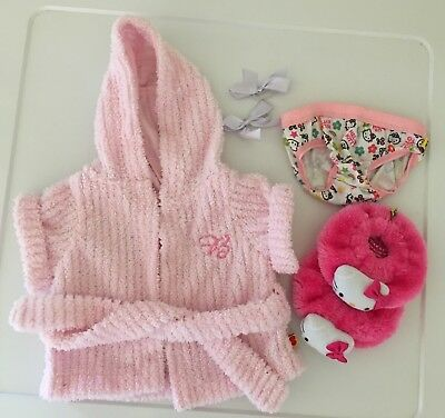 Genuine Build-a-Bear Clothes - Bathrobe, Hello Kitty Slippers & Undies