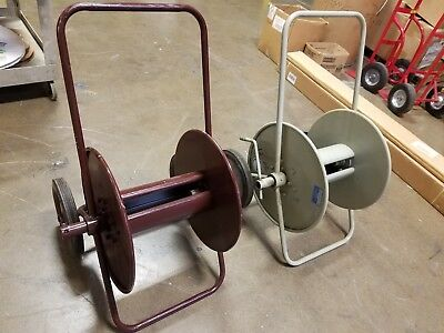 2 INDUSTRIAL ELECTRIC MADE IN USA CABLE REEL DOLLY 3 FEET HIGH x 22 INCHES WIDE