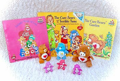 Vintage Care Bears Lot Miniature PVC And Poseable Mini Figure Books Plush 1983