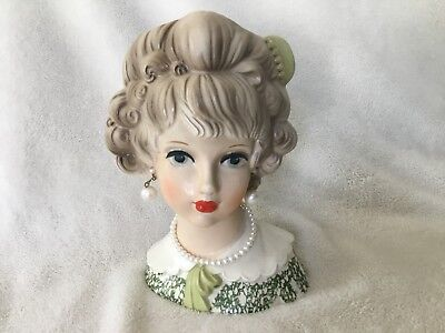 """Hard to Find Vintage Relpo # 2188 Lady Head Vase, 7"""" Tall, Excellent Condition"""
