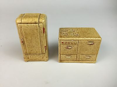 Rare Vintage Salt and Pepper Shakers Stove & Refrigerator Tan With Red Accents