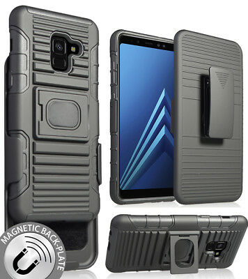 e5b83cd55 Black Magnet Grip Case + Belt Clip Holster Stand for Samsung Galaxy A8  (2018)