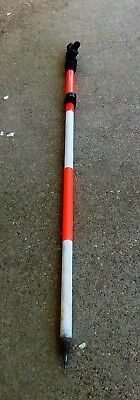 12 ft Aluminum Telescopic Survey Prism Pole with Bubble Level and Pointed Tip