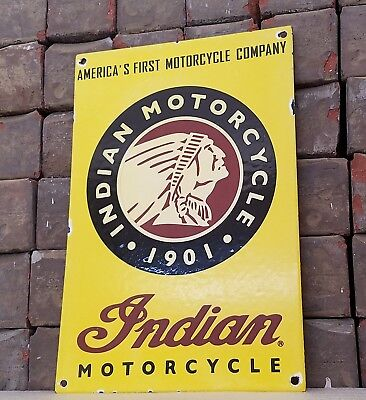 Vintage Indian Motorcycles Porcelain Indian Chief Service Bike Pump Plate Sign