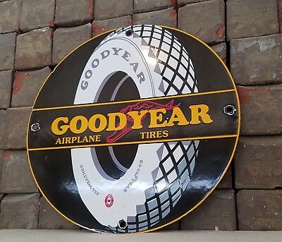 Vintage Goodyear Airplane Tires Porcelain Gas Aviation Service Pump Plate Sign
