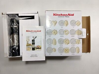 Kitchen Aid Cookie Press Stainless Steel Spring Loaded Lever 12 Discs 681041