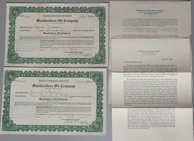 2 1918 Stock Certificates, Stockholders Oil Co, Related Letters