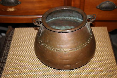 Antique Middle Eastern Arabic Copper Cauldron Cooking Pot w/Handle-Country Decor