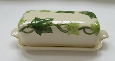 Franciscan American Ivy Green Leaf 1/4 lb Butter Dish Covered Super Condition