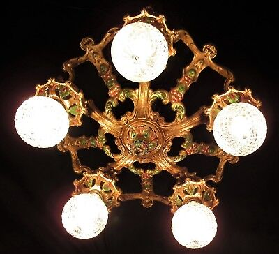 ANTIQUE ART DECO CAST IRON CEILING CHANDELIER LIGHT FIXTURE 1930's