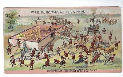 1894 Montgomery Ward Trade Card Where Brownies Get Supplies, Catalog 56 Chicago