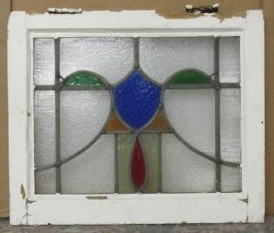 "OLD ENGLISH LEADED STAINED GLASS WINDOW Abstract w/ Shield 20"" x 16.5"""