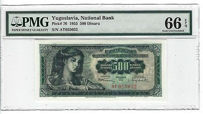 P-70 1955 500 Dinara, Yugoslavia National Bank, PMG 66EPQ GEM +