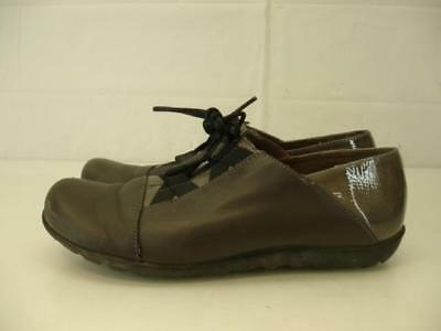 Womens 6.5 7 37 Wonders gray leather lace-up oxford shoes derby flat wedge  heels a27c0db28fa