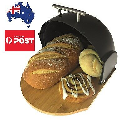 Bread Bin Modern Compact Rolltop with Bamboo Cutting Base 2-in-1 Bread Box