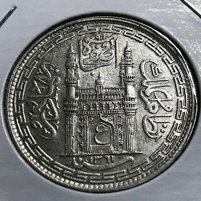 1942 India Hyderabad Princely States Silver One Rupee Coin