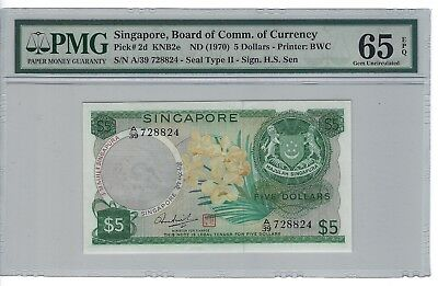 P-2d 1970 5 Dollars, Singapore, Board of Comm. of Currency, PMG 65EPQ Nice!