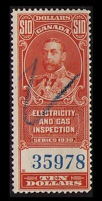 Canada Revenue 1930, $10. #feg7 Fine Used Scarce Electric & Gas Inspection Stamp