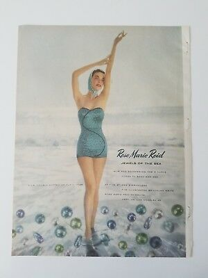 1953 Rose Marie Reid jewels of the sea women's blue swimsuit vintage ad