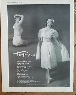 1955 women's Tempo lingerie beruffled baby doll gown billowy peignoir vintage ad