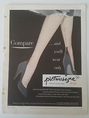 1953 PICTURESQUE women stockings Hosiery with picture frame heel legs vintage ad