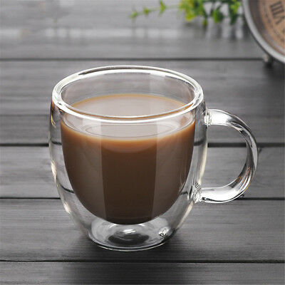 200ml Double Wall Glass Tea Coffee Cup Heat-resistant Double Layer Glass +Handle