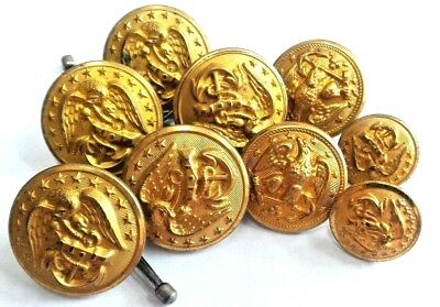 Lot of Vintage Military WWII NAVY UNIFORM BUTTONS 5-25mm 2-23mm 2-17mm