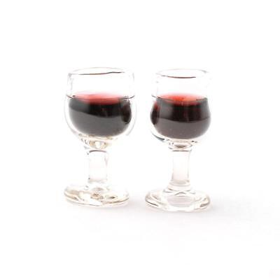 Dollhouse Miniature Glasses of Red Wine 1:6 Scale Set of 2