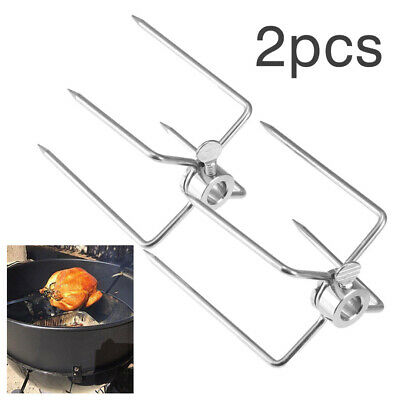 2xBBQ Stainless Steel Spit Forks Charcoal Chicken Grill Rotisserie Barbecue Tool