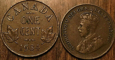 1934 Canada Small 1 Cent Coin Penny Vg-F Buy 1 Or More Its Free Shipping!