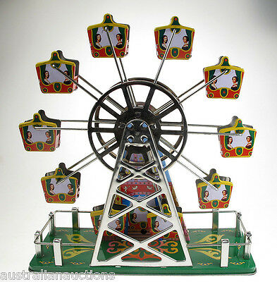 CLASSIC TIN TOY WIND-UP CLOCKWORK MUSICAL FERRIS WHEEL 2nd EDITION COLLECTIBLE
