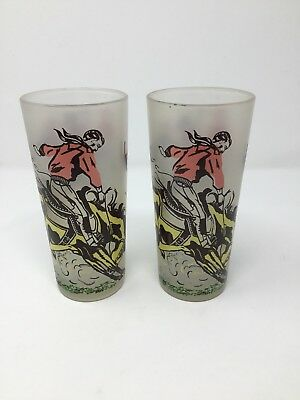 2 Vintage Frosted Drinking Glasses Cowboy Rodeo Bucking Bronco