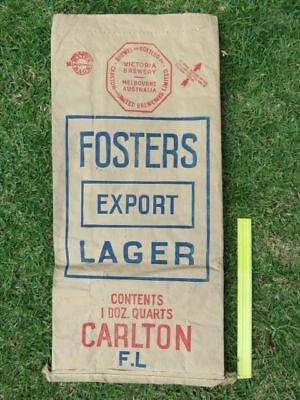 Rare Old Fosters Export Lager Advertising Bag Beer Hops ? Victoria Brewery