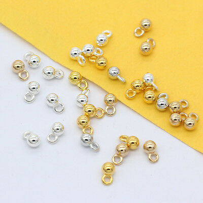 4.2x7mm Silver Gold Plated Bronze Metal Round Ball Charms Chain Dangle End beads
