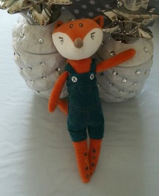 Doudou peluche renard orange salopette bleu vert queue triangle Kimbaloo la hall