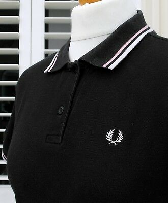 Fred Perry Women's Black/Pink/White Twin Tipped Pique Polo - UK 16/ EU 44/ US 12