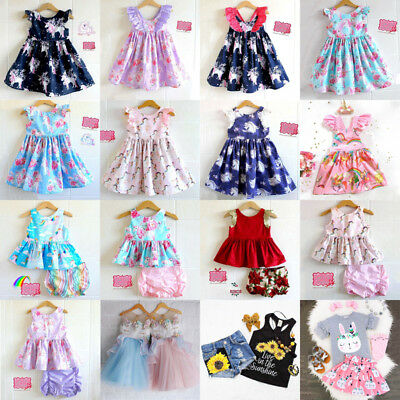 AU Toddler Kid Baby Girls Unicorn Party Pageant Dress Tops Pants Outfits Clothes
