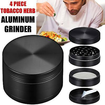 4 Piece Tobacco Herb Grinder With Scoop Spice Magnetic 2.5 Inch Black Aluminum