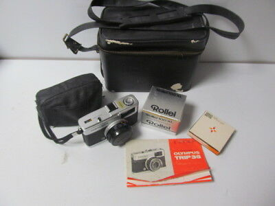 Olympus Trip 35 Film Camera With Rollei 100 XL Miniature Electronic Flash