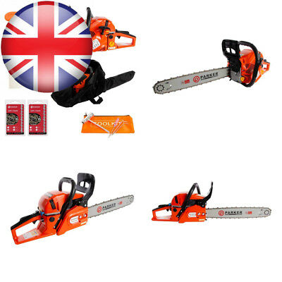 "62CC 20"" PETROL CHAINSAW + 2 x CHAINS - CARRY BAG BAR COVER TOOL KIT..."
