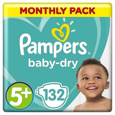 Pampers Baby Dry Size 5+ 132 Nappies 12 to 17 kg Air Channels for Breathable Dry