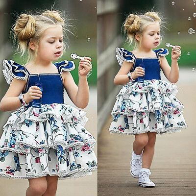 AU Seller Kids Baby Girls Summer Floral Sundress Layered Pageant Party Dresses