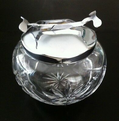 Vintage Crystal Sugar Lump Bowl And Lid With Sos Patent Mechanical Tongs,
