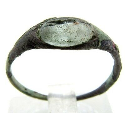Ancient Roman Bronze Intaglio Seal Ring  + Ancient Roman Glass beaded necklace