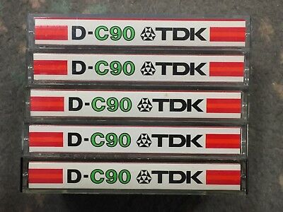 TDK Blank Cassettes Tapes D-C90 x 5 Made In Japan Vintage 1970s / 1980s