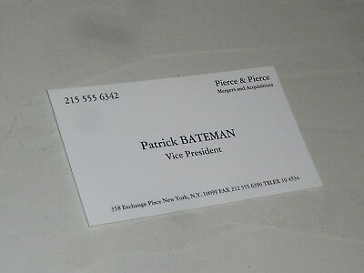 American psycho business card patrick bateman christian bale american psycho business card patrick bateman christian bale promotional item reheart Image collections