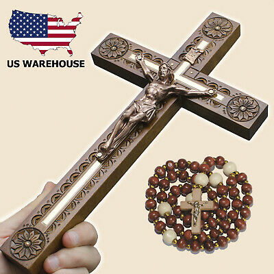 "Carved Wooden Wall Cross 12.4"" Crucifix Jesus Christ Religious Gift + Rosary"