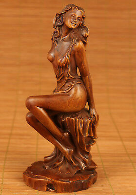 Chinese Old Boxwood Collection Handmade Carved Belle Statue Home Decoration