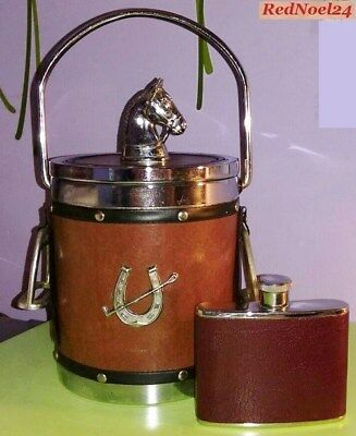 """Vintage """"Del Boy"""" Novelty Horse Ice Bucket & Stainless Steel Curved Hip Flask"""