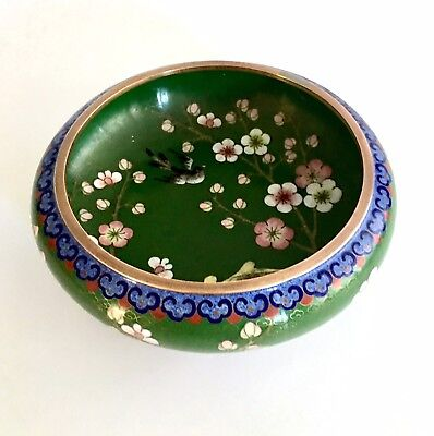Vintage Chinese Cloisonné Bowl With A Lovely Design Of Cherry Blossom And Birds